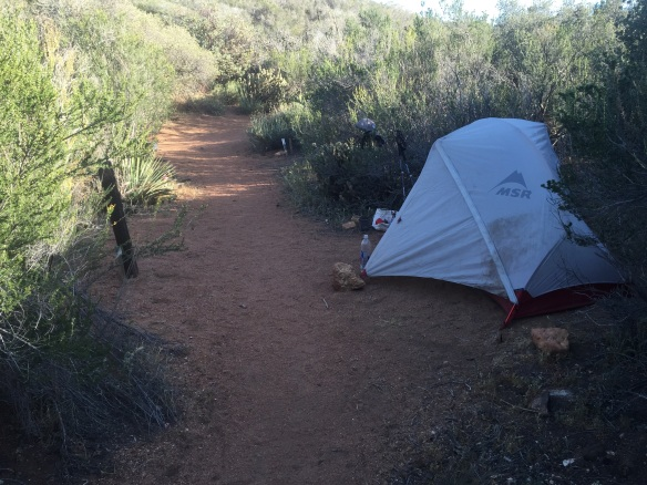 Camp at Third Gate water cache