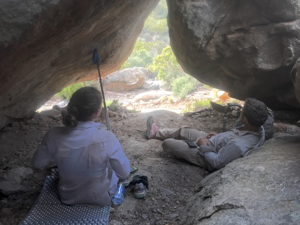 Taking a break amongst the boulders